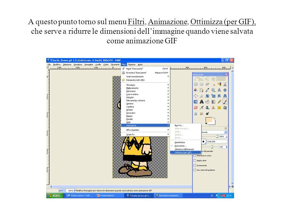 A questo punto torno sul menu Filtri, Animazione, Ottimizza (per GIF), che serve a ridurre le dimensioni dellimmagine quando viene salvata come animaz