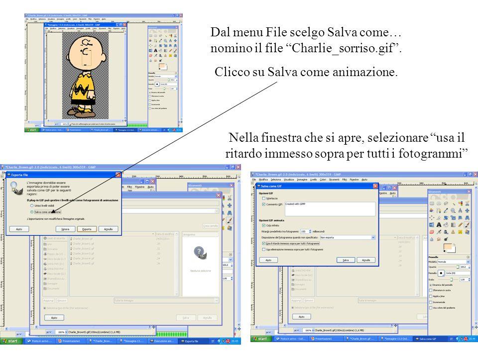 Dal menu File scelgo Salva come… nomino il file Charlie_sorriso.gif. Clicco su Salva come animazione. Nella finestra che si apre, selezionare usa il r
