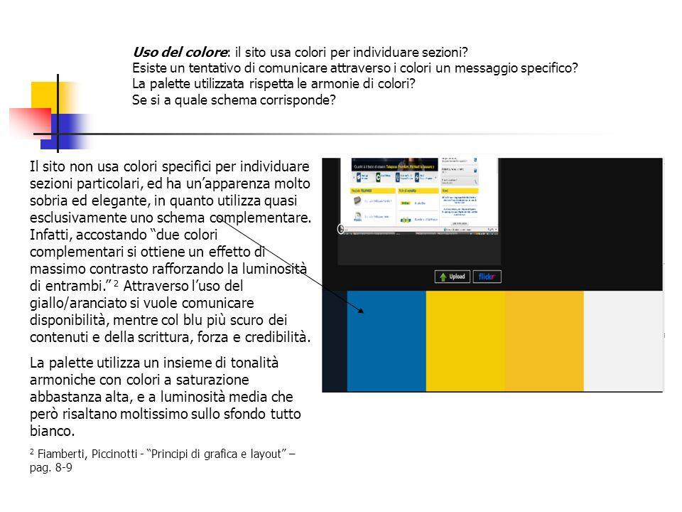 Uso del colore: il sito usa colori per individuare sezioni? Esiste un tentativo di comunicare attraverso i colori un messaggio specifico? La palette u