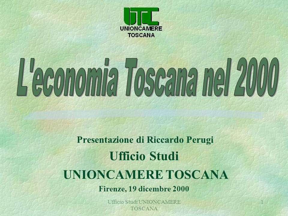 Ufficio Studi UNIONCAMERE TOSCANA 1 Presentazione di Riccardo Perugi Ufficio Studi UNIONCAMERE TOSCANA Firenze, 19 dicembre 2000