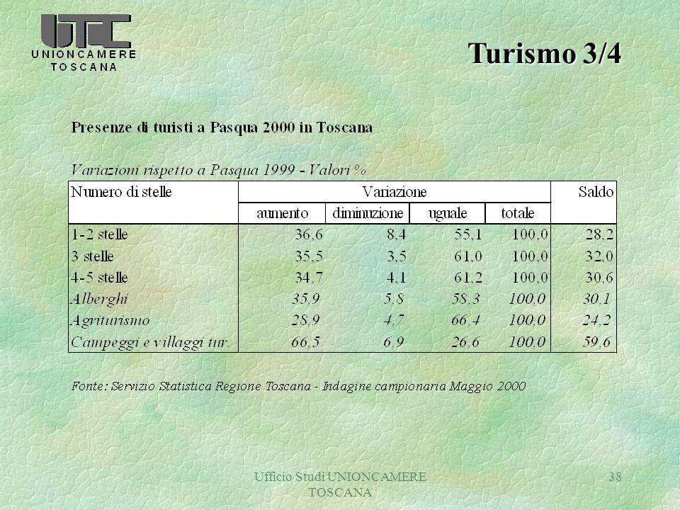 Ufficio Studi UNIONCAMERE TOSCANA 38 Turismo 3/4