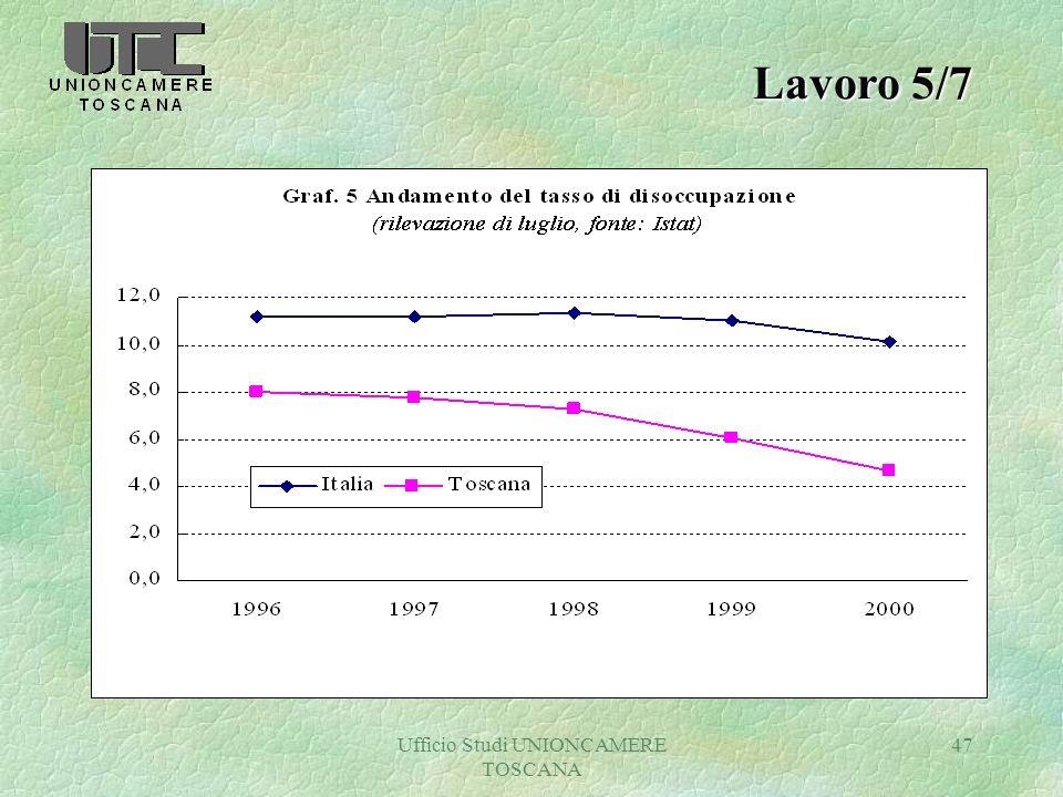 Ufficio Studi UNIONCAMERE TOSCANA 47 Lavoro 5/7