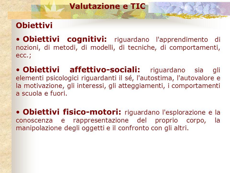 Valutazione e TIC Obiettivi Obiettivi cognitivi: riguardano l'apprendimento di nozioni, di metodi, di modelli, di tecniche, di comportamenti, ecc.; Ob