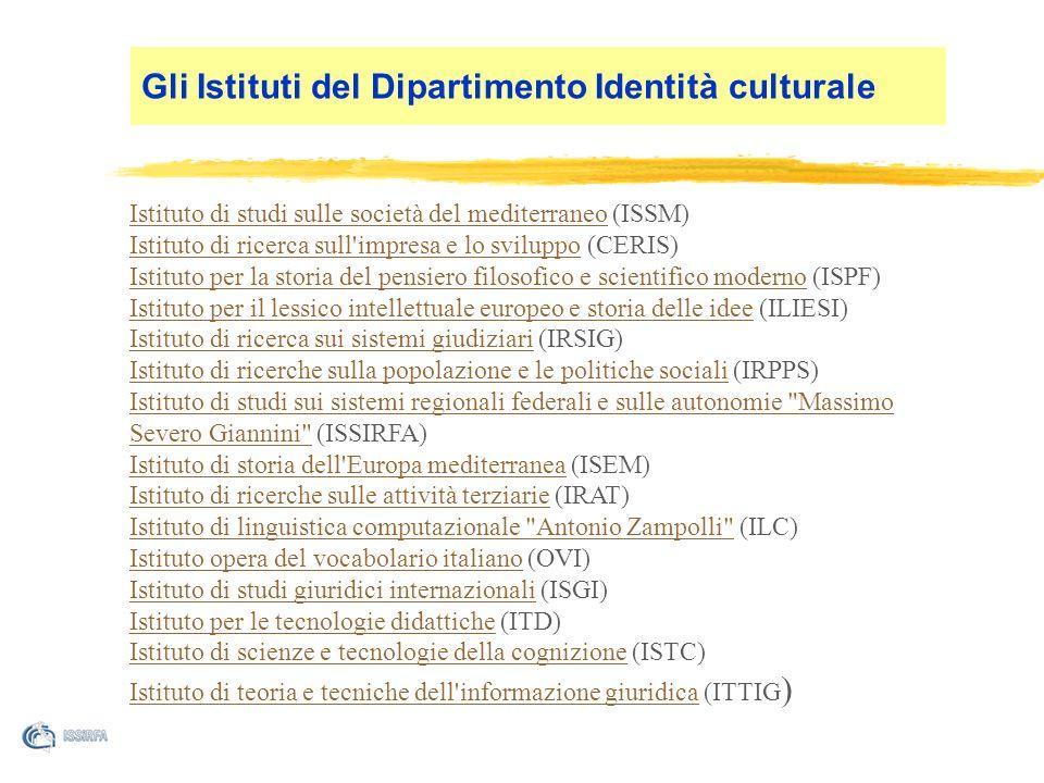 Tematica Multidisciplinarità Massa critica Continuità La raison detre dgli istituti del CNR