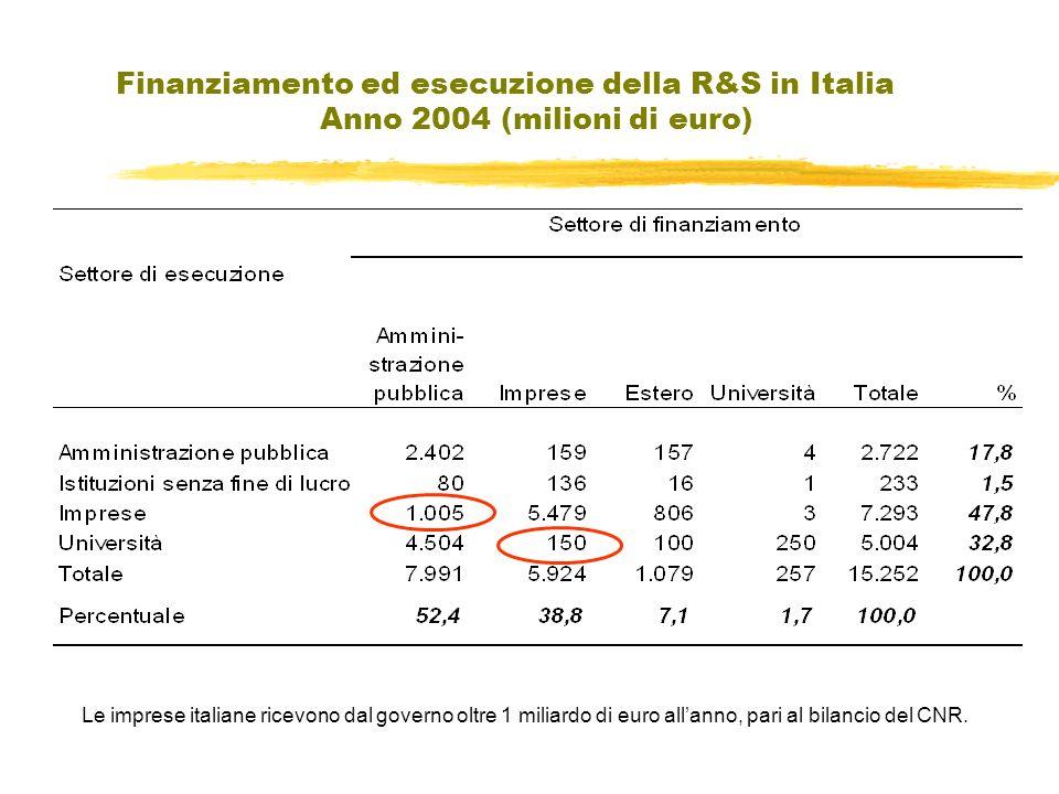 Finanziamento ed esecuzione della R&S in Italia Anno 2004 (milioni di euro) Le imprese italiane ricevono dal governo oltre 1 miliardo di euro allanno, pari al bilancio del CNR.