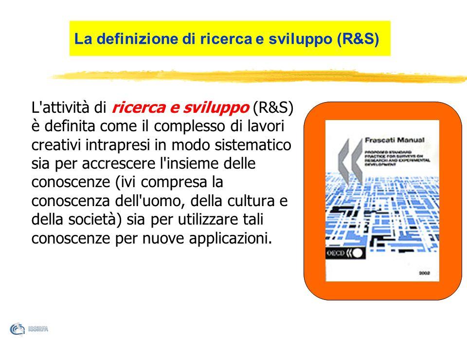 L'attività di ricerca e sviluppo (R&S) è definita come il complesso di lavori creativi intrapresi in modo sistematico sia per accrescere l'insieme del