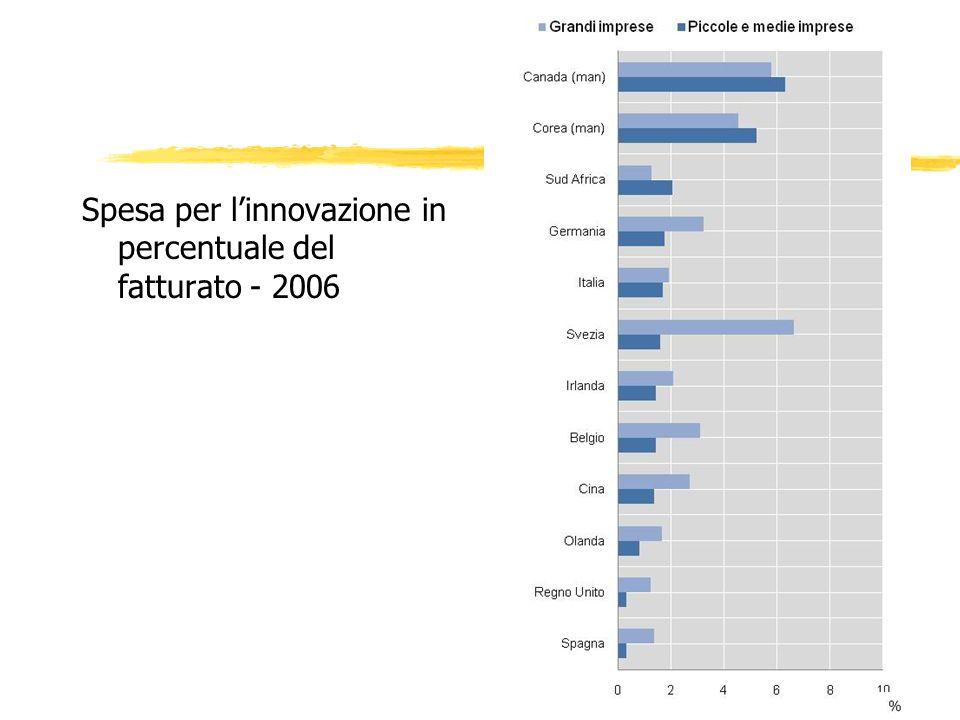 Spesa per linnovazione in percentuale del fatturato - 2006