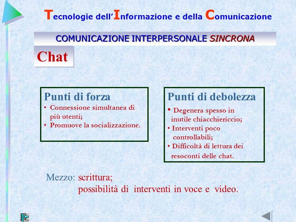 Punti di debolezza Degenera spesso in inutile chiacchiericcio; Interventi poco controllabili; Difficoltà di lettura dei resoconti delle chat. Punti di