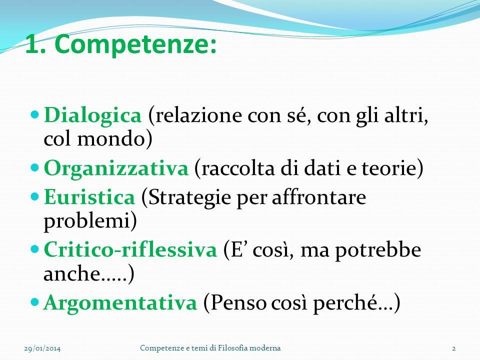 1. Competenze: Dialogica (relazione con sé, con gli altri, col mondo) Organizzativa (raccolta di dati e teorie) Euristica (Strategie per affrontare pr