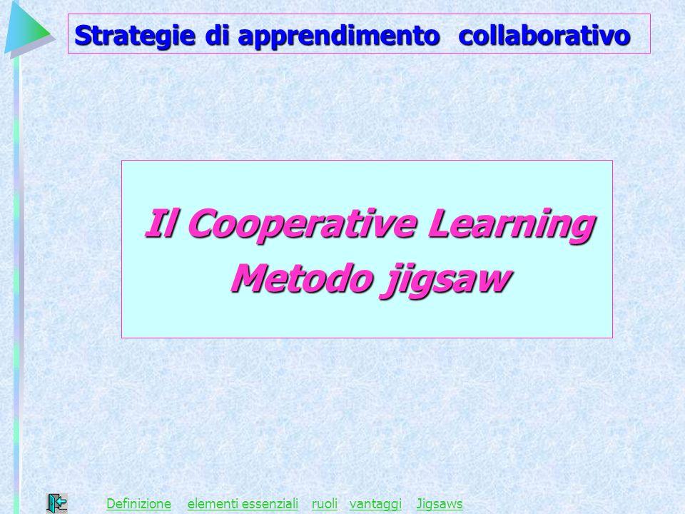 Il Cooperative Learning Metodo jigsaw DefinizioneDefinizione elementi essenzialiruoli vantaggi Jigsawselementi essenzialiruolivantaggiJigsaws Strategi