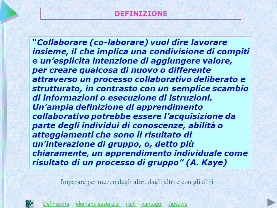 Collaborare (co-laborare) vuol dire lavorare insieme, il che implica una condivisione di compiti e unesplicita intenzione di aggiungere valore, per cr