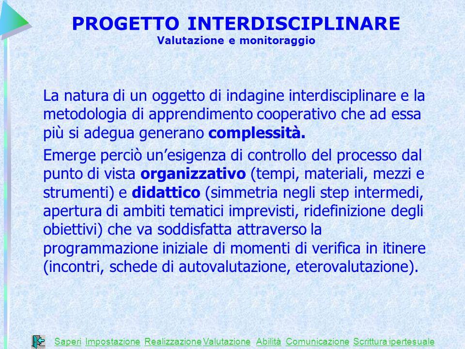 La natura di un oggetto di indagine interdisciplinare e la metodologia di apprendimento cooperativo che ad essa più si adegua generano complessità. Em
