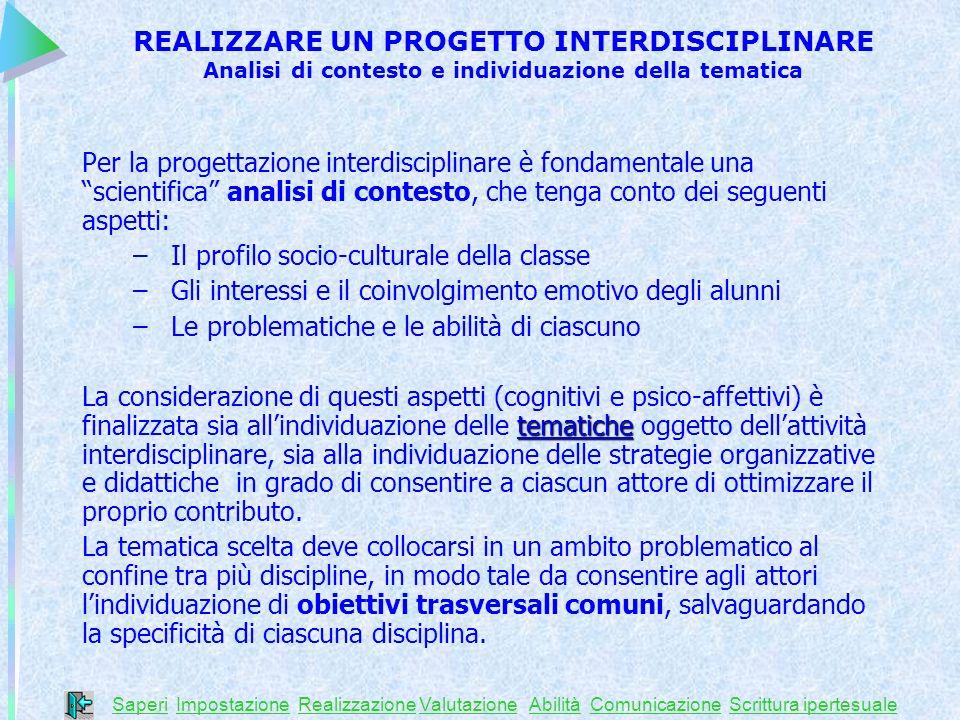 Per la progettazione interdisciplinare è fondamentale una scientifica analisi di contesto, che tenga conto dei seguenti aspetti: – Il profilo socio-cu