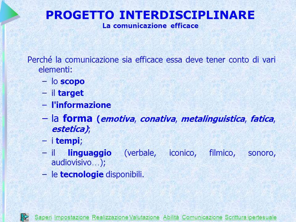 Perché la comunicazione sia efficace essa deve tener conto di vari elementi: –lo scopo –il target –l'informazione –la forma (emotiva, conativa, metali