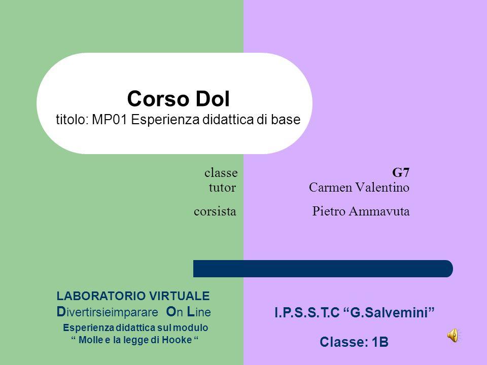 classe G7 tutor Carmen Valentino corsista Pietro Ammavuta Corso Dol titolo: MP01 Esperienza didattica di base LABORATORIO VIRTUALE D ivertirsieimparar