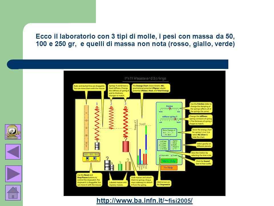 Ecco il laboratorio con 3 tipi di molle, i pesi con massa da 50, 100 e 250 gr, e quelli di massa non nota (rosso, giallo, verde) http://www.ba.infn.it