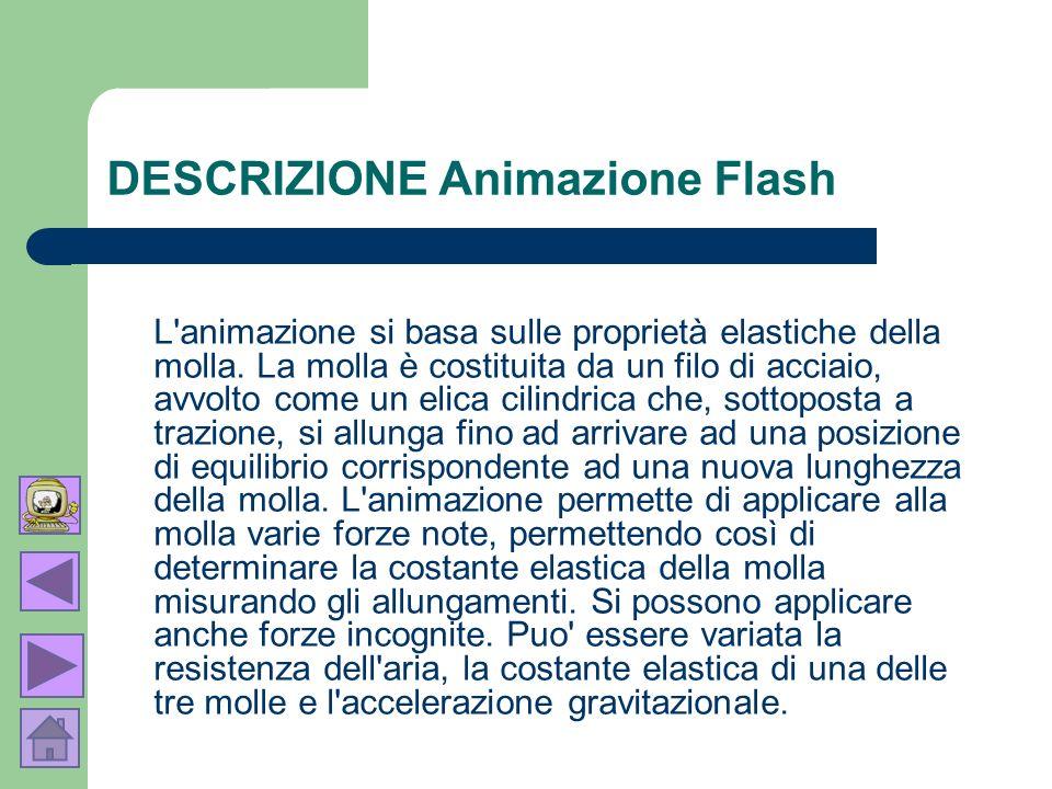 DESCRIZIONE Animazione Flash L'animazione si basa sulle proprietà elastiche della molla. La molla è costituita da un filo di acciaio, avvolto come un