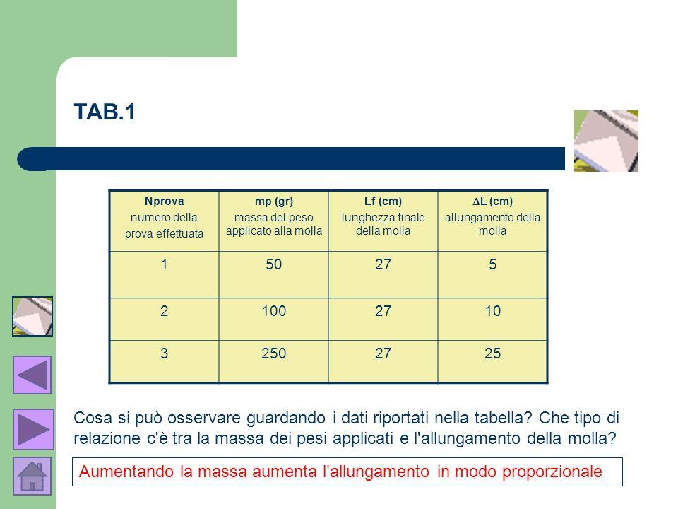 Nprova numero della prova effettuata mp (gr) massa del peso applicato alla molla Lf (cm) lunghezza finale della molla L (cm) allungamento della molla