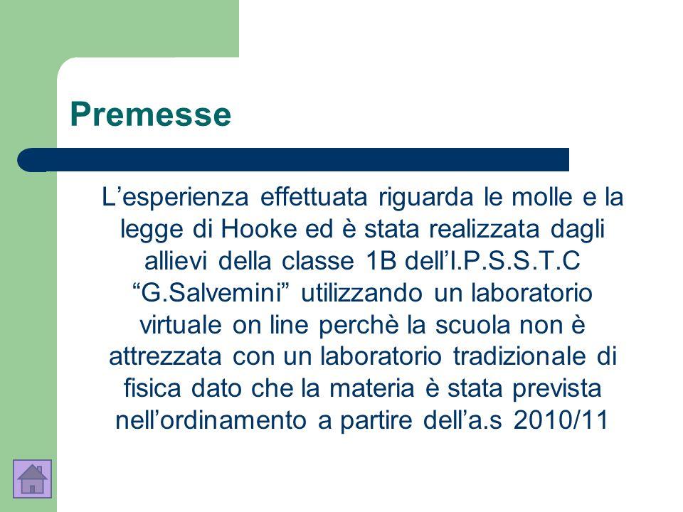 Premesse Lesperienza effettuata riguarda le molle e la legge di Hooke ed è stata realizzata dagli allievi della classe 1B dellI.P.S.S.T.C G.Salvemini