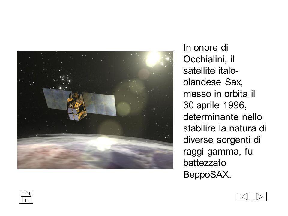 In onore di Occhialini, il satellite italo- olandese Sax, messo in orbita il 30 aprile 1996, determinante nello stabilire la natura di diverse sorgent