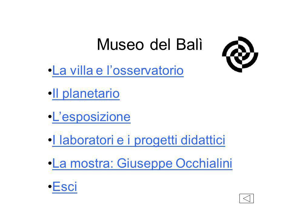 Museo del Balì La villa e losservatorio Il planetario Lesposizione I laboratori e i progetti didattici La mostra: Giuseppe Occhialini Esci