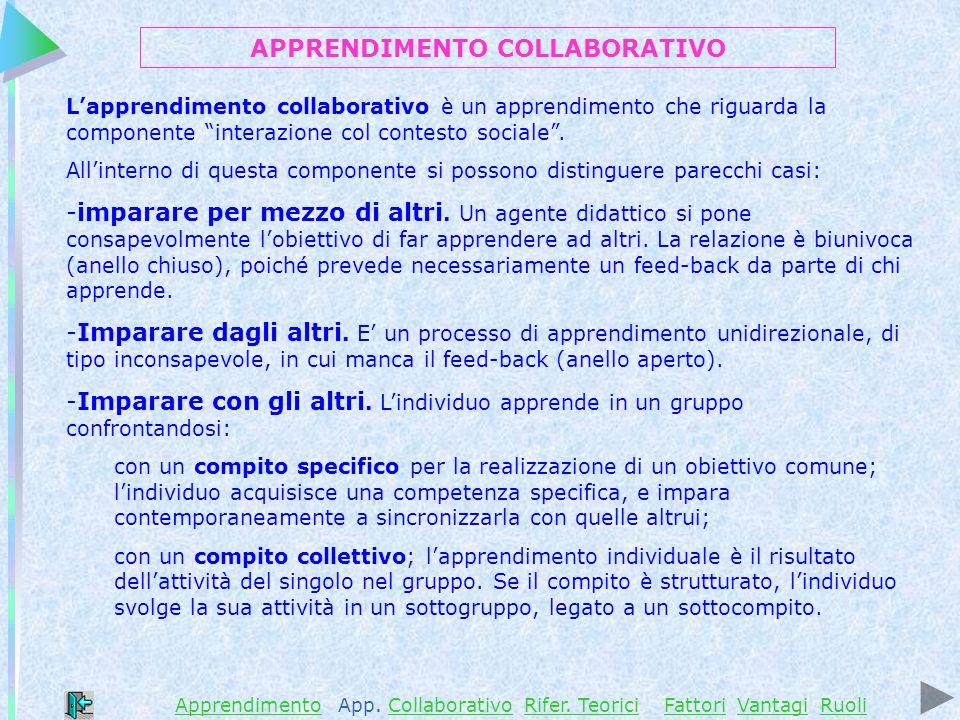 Lapprendimento collaborativo è un apprendimento che riguarda la componente interazione col contesto sociale.