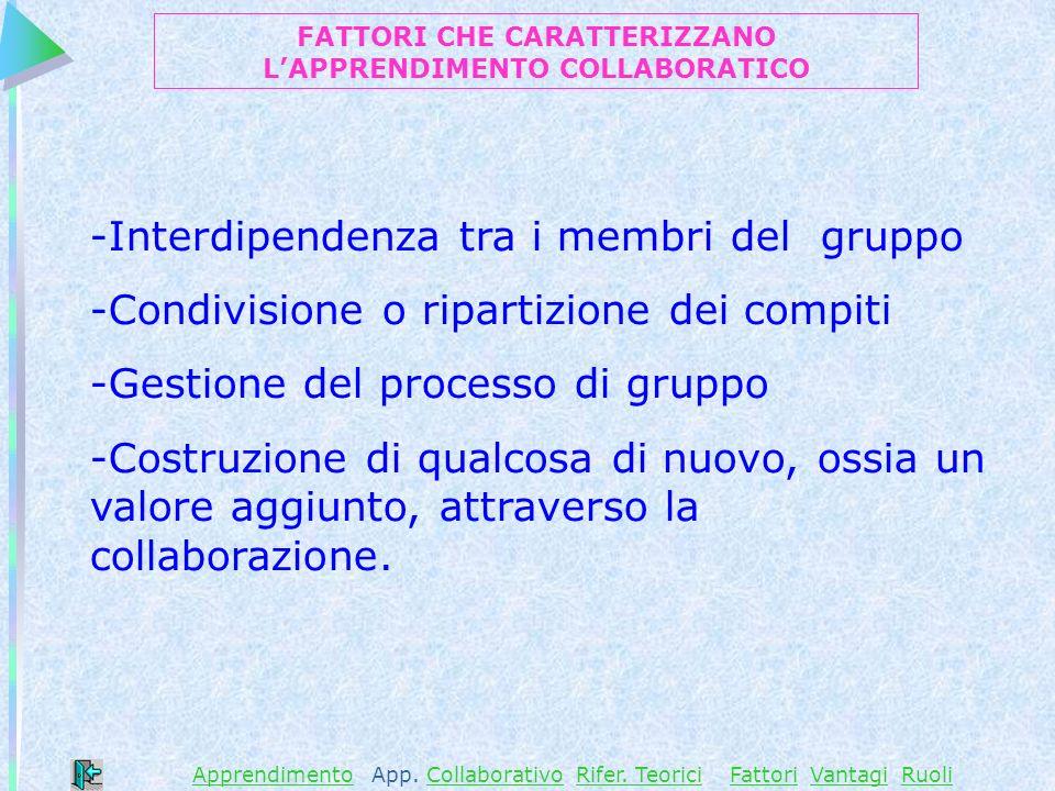 -Interdipendenza tra i membri del gruppo -Condivisione o ripartizione dei compiti -Gestione del processo di gruppo -Costruzione di qualcosa di nuovo, ossia un valore aggiunto, attraverso la collaborazione.