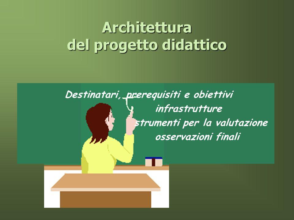 Architettura del progetto didattico Destinatari, prerequisiti e obiettivi infrastrutture strumenti per la valutazione osservazioni finali