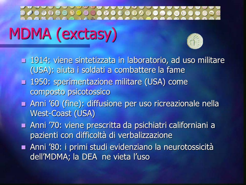 MDMA (exctasy) 1914: viene sintetizzata in laboratorio, ad uso militare (USA): aiuta i soldati a combattere la fame 1914: viene sintetizzata in labora