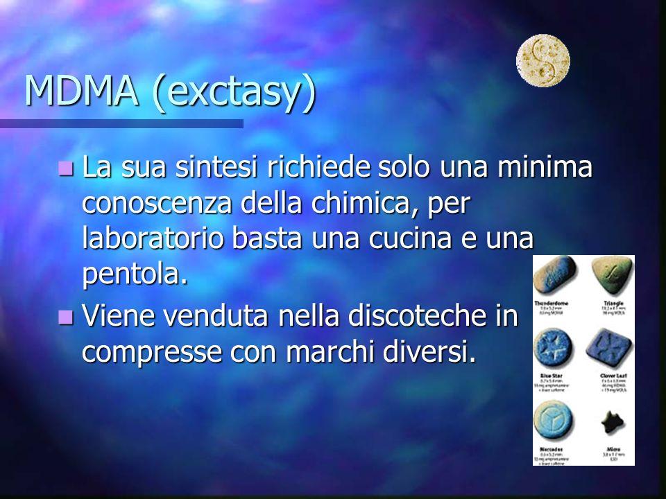 MDMA (exctasy) La sua sintesi richiede solo una minima conoscenza della chimica, per laboratorio basta una cucina e una pentola. La sua sintesi richie