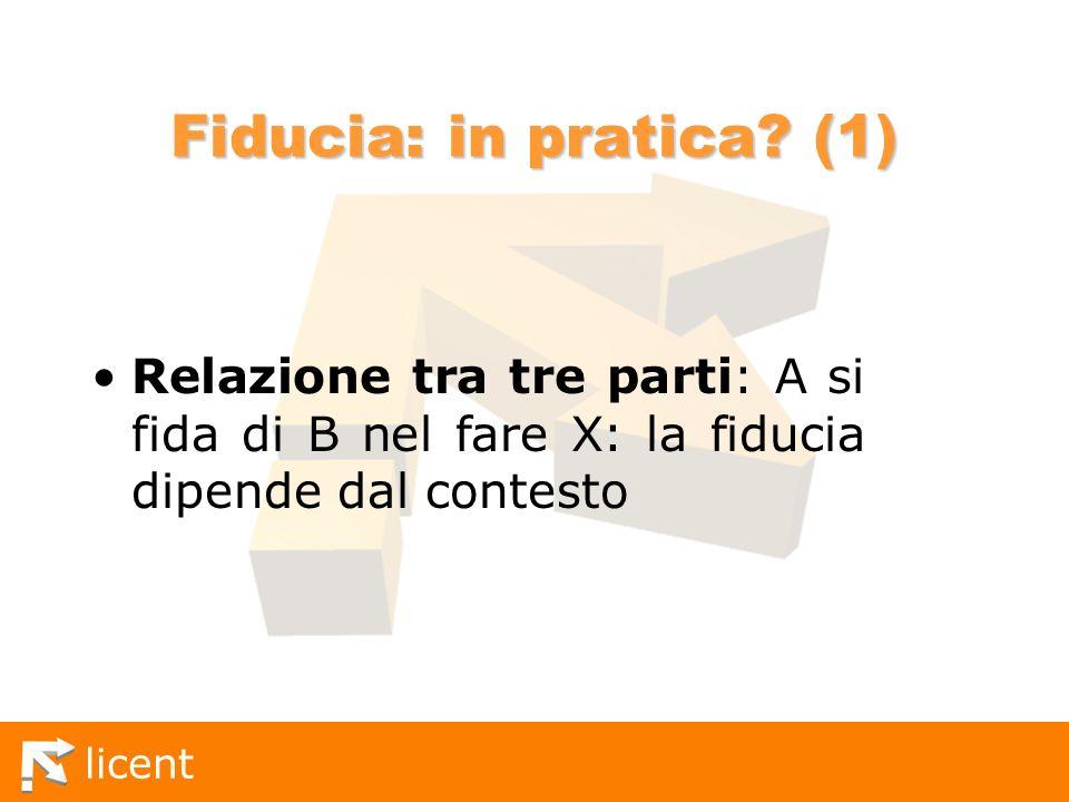 licent Fiducia: in pratica? (1) Relazione tra tre parti: A si fida di B nel fare X: la fiducia dipende dal contesto
