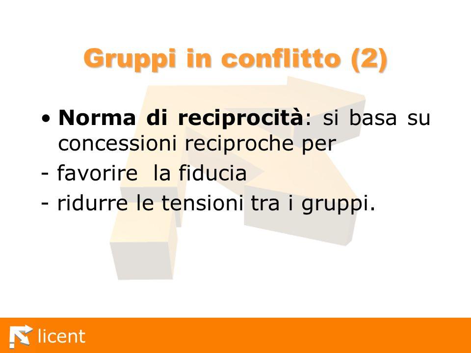 licent Gruppi in conflitto (2) Norma di reciprocità: si basa su concessioni reciproche per - favorire la fiducia - ridurre le tensioni tra i gruppi.