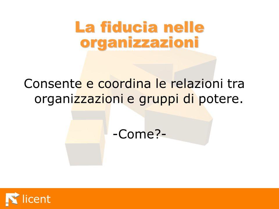licent La fiducia nelle organizzazioni Consente e coordina le relazioni tra organizzazioni e gruppi di potere. -Come?-