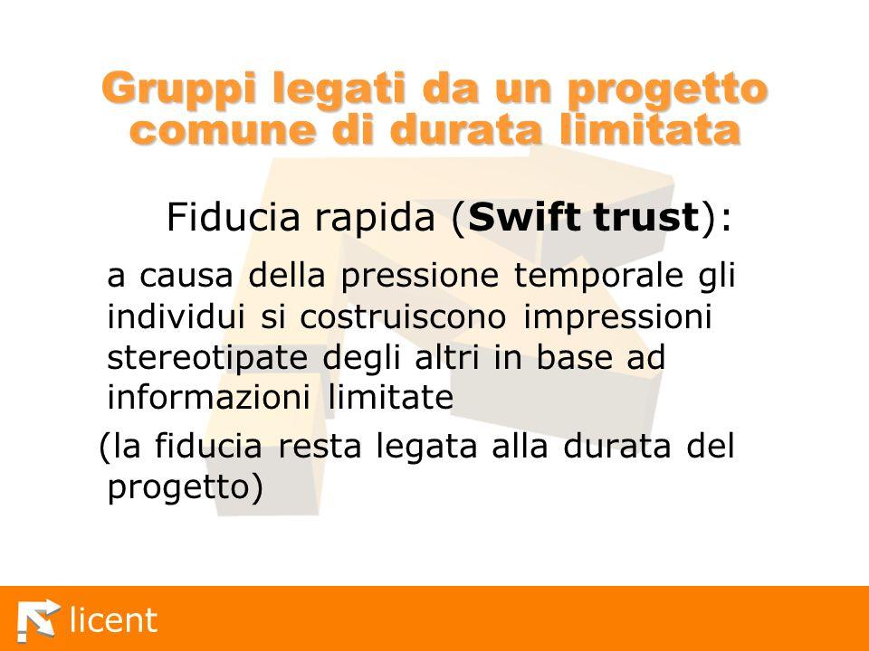 licent Gruppi legati da un progetto comune di durata limitata Fiducia rapida (Swift trust): a causa della pressione temporale gli individui si costrui
