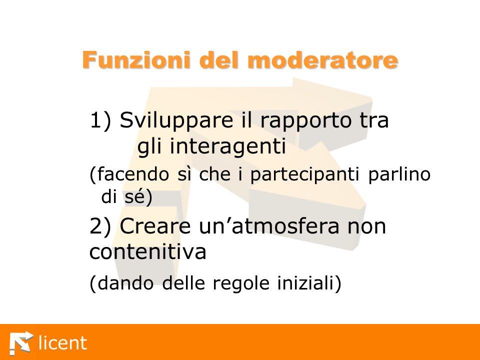 licent Funzioni del moderatore 1) Sviluppare il rapporto tra gli interagenti (facendo sì che i partecipanti parlino di sé) 2) Creare unatmosfera non c