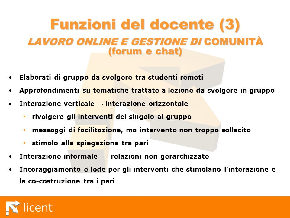 licent Funzioni del docente (3) LAVORO ONLINE E GESTIONE DI COMUNITÀ (forum e chat) Elaborati di gruppo da svolgere tra studenti remoti Approfondiment