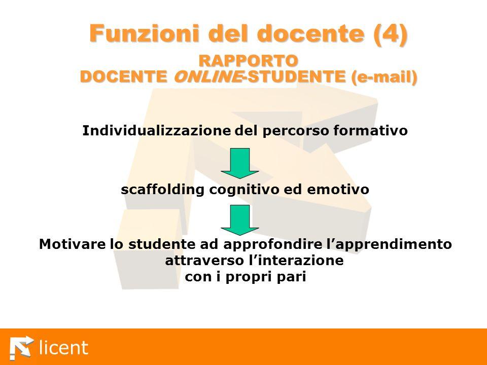 licent Funzioni del docente (4) RAPPORTO DOCENTE ONLINE-STUDENTE (e-mail) Individualizzazione del percorso formativo scaffolding cognitivo ed emotivo