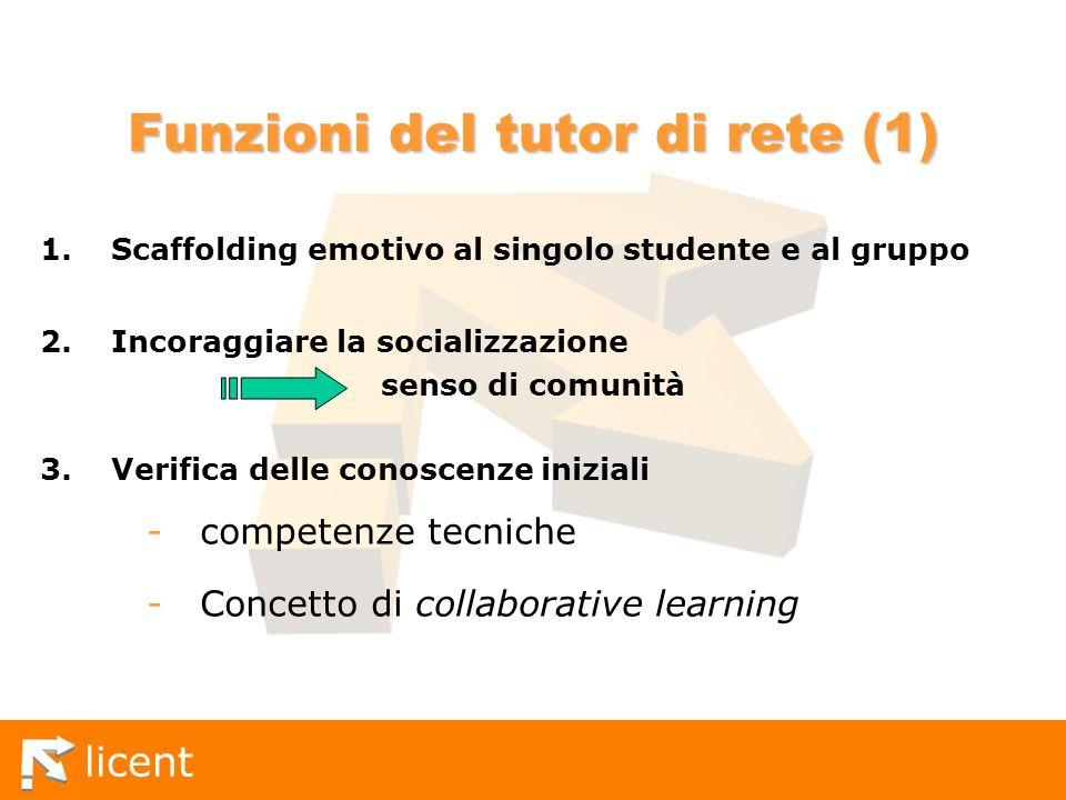 licent Funzioni del tutor di rete (1) 1.Scaffolding emotivo al singolo studente e al gruppo 2.Incoraggiare la socializzazione senso di comunità 3.Veri