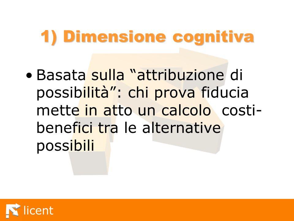 licent 1) Dimensione cognitiva Basata sulla attribuzione di possibilità: chi prova fiducia mette in atto un calcolo costi- benefici tra le alternative