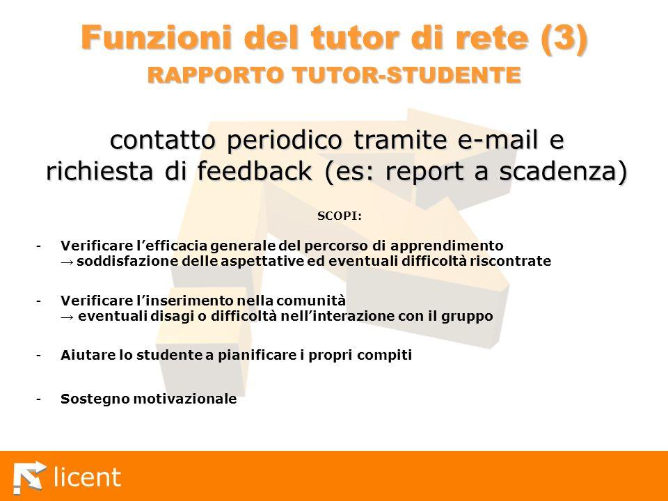 licent Funzioni del tutor di rete (3) RAPPORTO TUTOR-STUDENTE SCOPI: -Verificare lefficacia generale del percorso di apprendimento soddisfazione delle