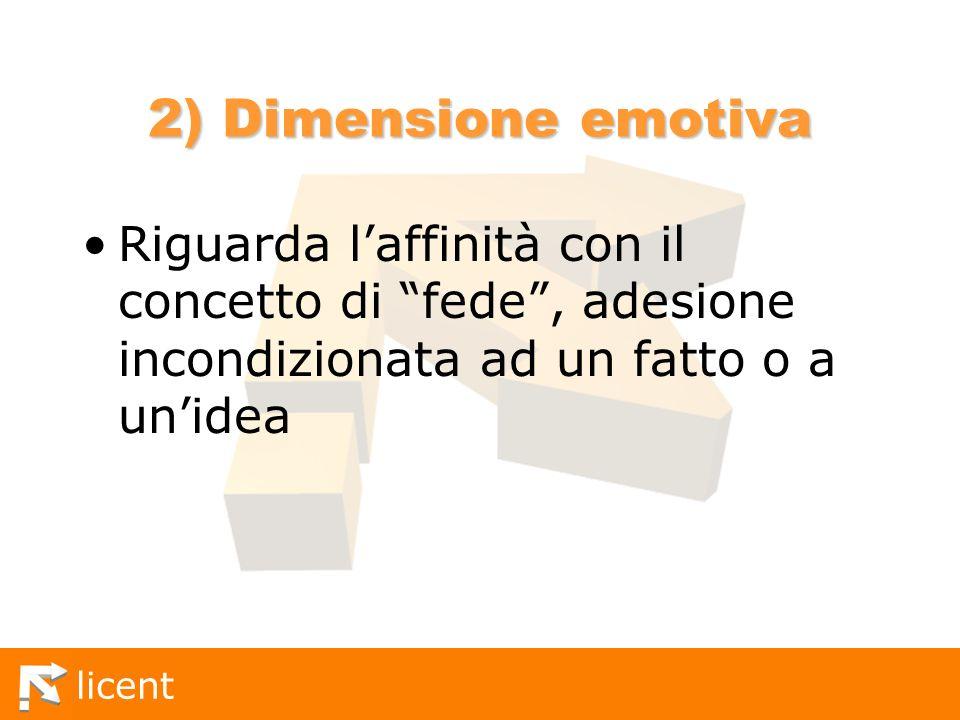 licent 2) Dimensione emotiva Riguarda laffinità con il concetto di fede, adesione incondizionata ad un fatto o a unidea
