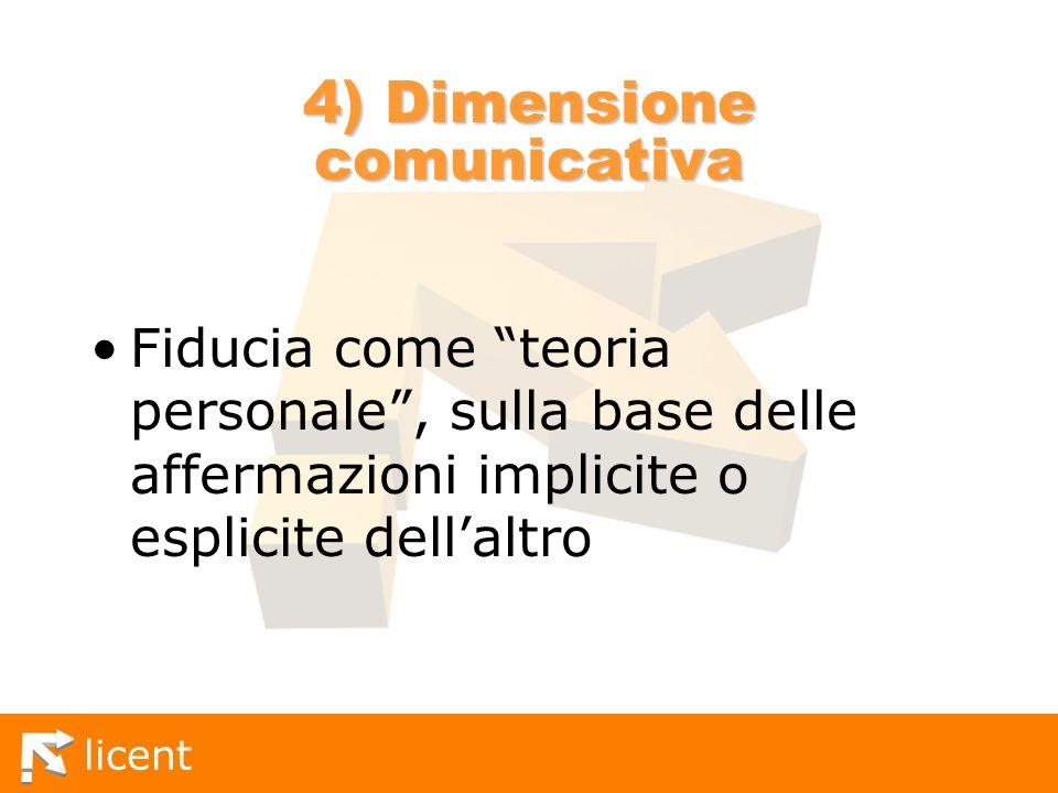 licent 4) Dimensione comunicativa Fiducia come teoria personale, sulla base delle affermazioni implicite o esplicite dellaltro