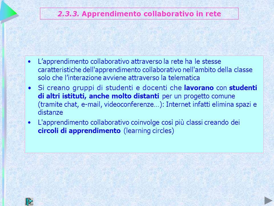 2.3.3. Apprendimento collaborativo in rete Lapprendimento collaborativo attraverso la rete ha le stesse caratteristiche dell'apprendimento collaborati