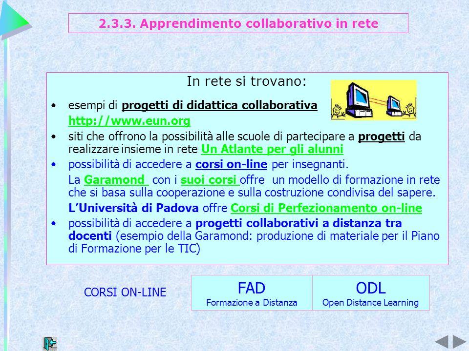 In rete si trovano: esempi di progetti di didattica collaborativa http://www.eun.org siti che offrono la possibilità alle scuole di partecipare a prog
