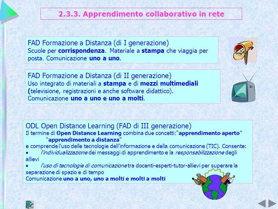 ODL Open Distance Learning (FAD di III generazione) Il termine di Open Distance Learning combina due concetti:apprendimento aperto apprendimento a dis