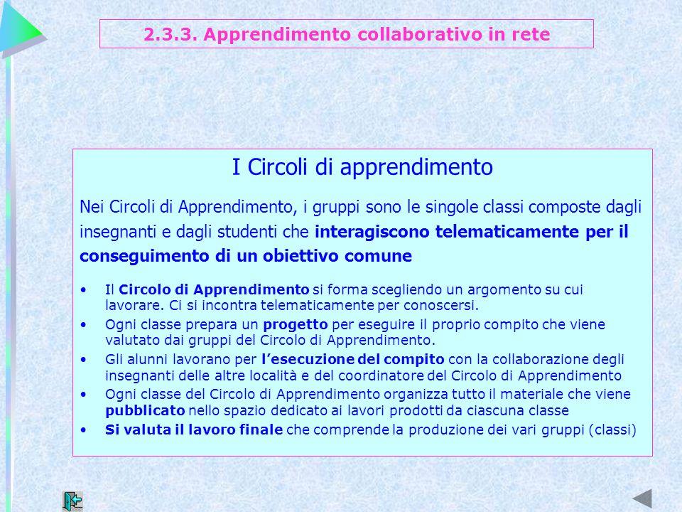 I Circoli di apprendimento Nei Circoli di Apprendimento, i gruppi sono le singole classi composte dagli insegnanti e dagli studenti che interagiscono