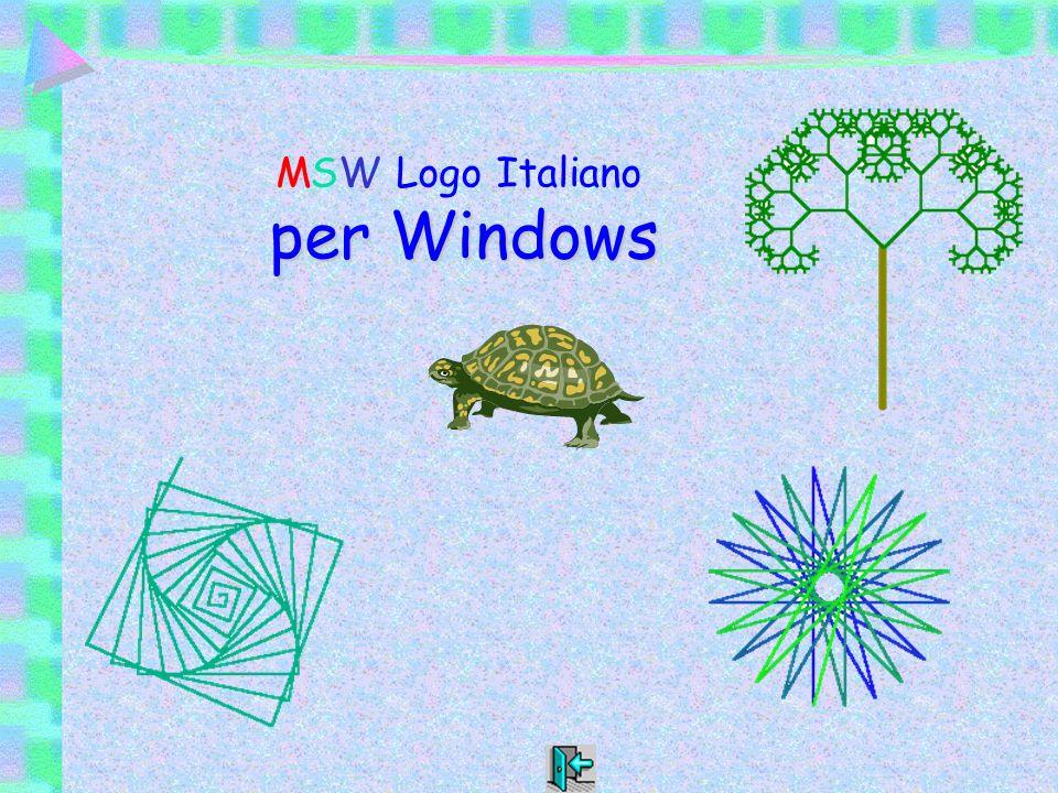 MSW Logo MSW Logo Italiano per Windows Linguaggio per bambini e grandi Il logo è stato ideato da Seymour Papert negli anni 60, per permettere a chiunque, senza particolari conoscenze, di interagire col computer e di scoprire alcune proprietà dello spazio dando sfogo alle proprie idee