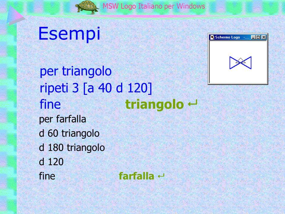 MSW Logo MSW Logo Italiano per Windows Esempi per triangolo ripeti 3 [a 40 d 120] finetriangolo per farfalla d 60 triangolo d 180 triangolo d 120 fine