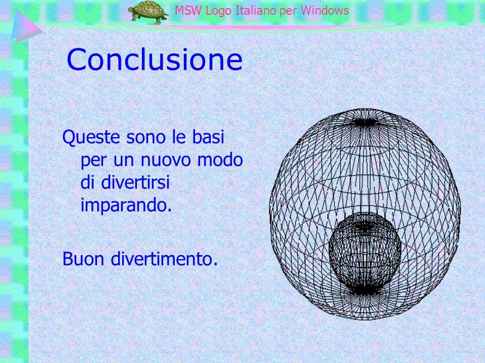 MSW Logo MSW Logo Italiano per Windows Conclusione Queste sono le basi per un nuovo modo di divertirsi imparando. Buon divertimento.