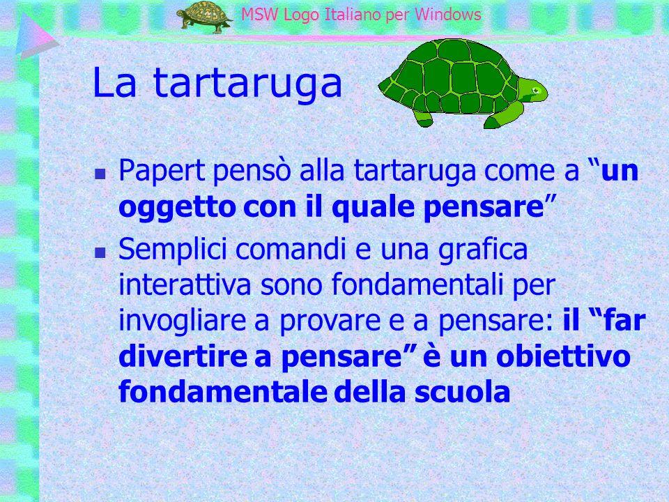 MSW Logo MSW Logo Italiano per Windows La tartaruga Papert pensò alla tartaruga come a un oggetto con il quale pensare Semplici comandi e una grafica